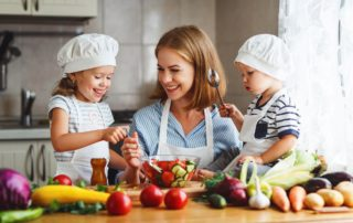 Kids cooking in Kitchen